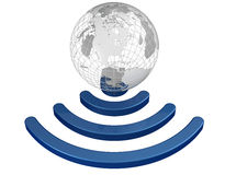 Wireless earth broadband symbol Stock Photo