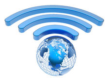 Wireless earth broadband symbol Royalty Free Stock Photo
