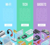 Modern wireless gadgets isometric posters. Wireless gadgets and computer devices isometric posters with laptop, tablet PC, usb drive, gamepad, headphones, wifi Royalty Free Stock Photo