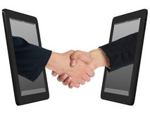 Wireless Handshaking Concept with Tablet Computer Royalty Free Stock Photography