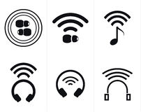 Wireless Headphones and Earbud Icons. Collection of icons representing wireless headphones and earbuds for new smartphones without a headphone jack vector illustration