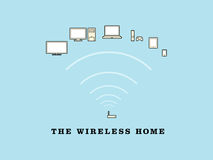 The Wireless Home. An illustration showing the wireless devices used in the modern home Royalty Free Stock Photography
