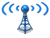 Wireless icon. 3d illustration of blue wireless icon Stock Images