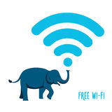 Wireless icon with an elephant. Vector sign Royalty Free Stock Image