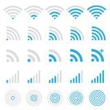 Wireless icon set. Wireless technology, wi-fi web icon set Vector Royalty Free Stock Photography