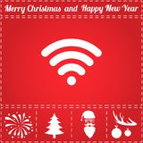 Wireless Icon Vector. And bonus symbol for New Year - Santa Claus, Christmas Tree, Firework, Balls on deer antlers Stock Photo