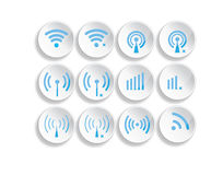 Set of different wireless 3d buttons and wifi icon. S Royalty Free Stock Photo