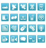 Wireless icons on blue squares Stock Image