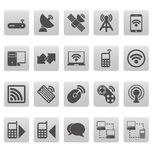 Wireless icons on gray squares Royalty Free Stock Image
