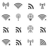 Wireless icons set Stock Images