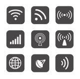 Wireless icons set white silhouettes on black Royalty Free Stock Photography