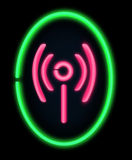 Wireless information. Illustration depicting a illuminated neon sign in the shape of a wireless symbol. Black background Stock Photography