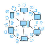 Wireless information transfer illustration Royalty Free Stock Images