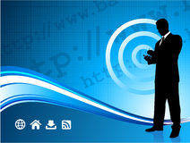 Wireless internet background with businessman Stock Images