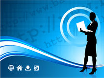 Wireless internet background with businesswoman Stock Photos