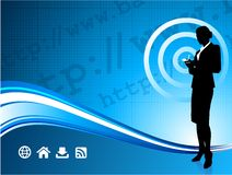 Wireless internet background with businesswoman Stock Photography