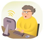 Wireless Internet Computing Grandmother. Grandmother or secretary using wireless internet computer. She may be working at home or the office. She likes the color royalty free illustration
