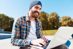 Wireless internet makes research a breeze! Stock Photos