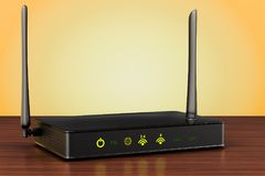 Wireless internet router on the wooden table. 3D rendering. Wireless internet router on the wooden table. 3D