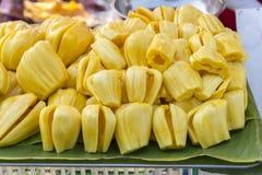 Wireless jackfruit seed placed on banana leaves Stock Photos