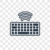 Wireless Keyboard concept vector linear icon isolated on transparent background, Wireless Keyboard concept transparency logo in o royalty free illustration