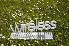 Wireless and keyborad on green Stock Photography