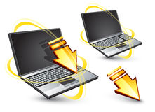Wireless laptop computers. A pair of laptop computers communicating with wireless Royalty Free Stock Photos