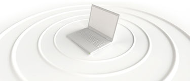 Wireless laptop sending WI-FI signal Royalty Free Stock Photos