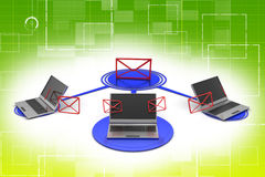 Wireless messages sending thorough Laptop illustration Stock Photo