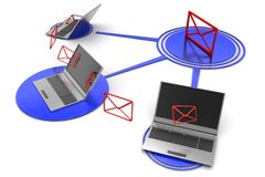 Wireless messages sending thorough Laptop Royalty Free Stock Images
