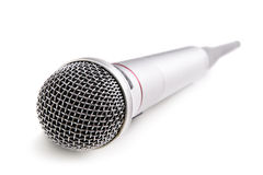 Wireless microphone. Silver wireless microphone isolated over white background royalty free stock photos