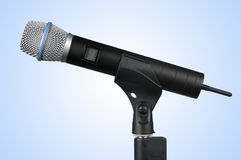 Wireless Microphone (With Clipping Path). Hi-Tech Wireless Microphone on a stand stock photography