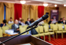 Wireless Microphone closeup at conference. Stock Images