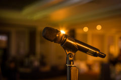 Wireless microphone stand on the stage venue stock photos