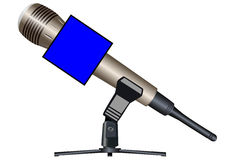 Wireless microphone on a support with a cube Stock Photos