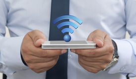 Wireless on the Mobile Phone. Wifi on the Smart Phone Royalty Free Stock Photography