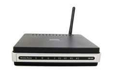 Wireless Modem. Wireless router with antenna isolated over white Stock Photo