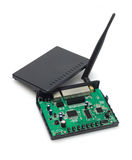 Wireless Modem. Exposing Internal Components On White Background Stock Image