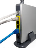 Wireless modem router with cable connected.wireless router with. Plugged cables.Modern wireless router.High speed internet connection, computer network and Stock Image
