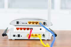 Wireless modem router network hub with cable connect Stock Images