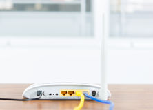 Wireless modem router network hub with cable connect Royalty Free Stock Image