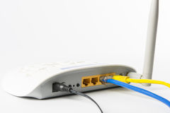 Wireless modem router network hub. On white background Stock Photo