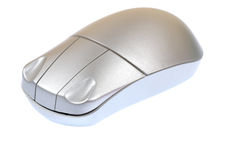 Wireless mouse. Silver colored wireless computer mouse stock images