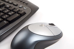 Wireless mouse. And keyboard. Focus on mousse whell Stock Photography