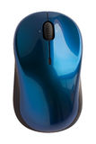 Wireless mouse. Blue wireless mouse isolated on white royalty free stock image