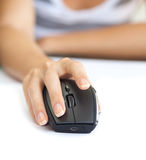 Wireless mouse with hand Stock Images