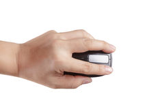 Wireless mouse and hand. Wireless mouse and the middle finger rests on the right mouse button Royalty Free Stock Photos