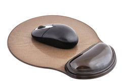 Wireless mouse and mause pad Stock Photo