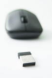 Wireless mouse. And receptor on white background Stock Images