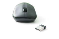 Wireless mouse. And usb connector on white background Royalty Free Stock Photography